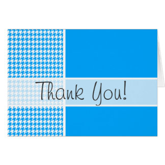 Deep Sky Blue Houndstooth; Personalized Note Card