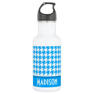 Deep Sky Blue Houndstooth; Personalized 532 Ml Water Bottle