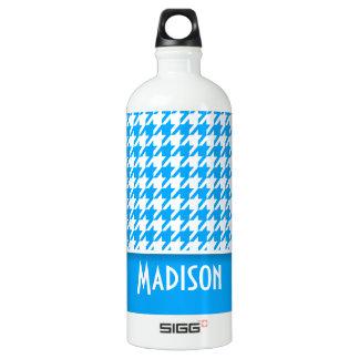 Deep Sky Blue Houndstooth; Personalized SIGG Traveller 1.0L Water Bottle
