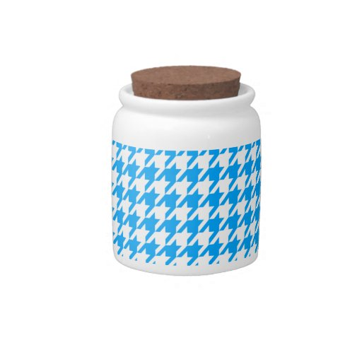 Deep Sky Blue Houndstooth Candy Dishes