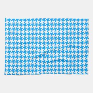 Deep Sky Blue Houndstooth Towels