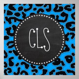Deep Sky Blue Leopard Print Chalkboard look