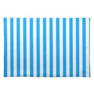 Deep Sky Blue Vertical Stripes; Striped Placemats