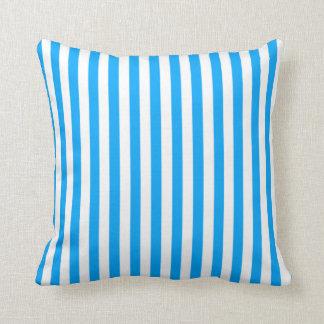 Deep Sky Blue Vertical Stripes Striped Throw Pillows