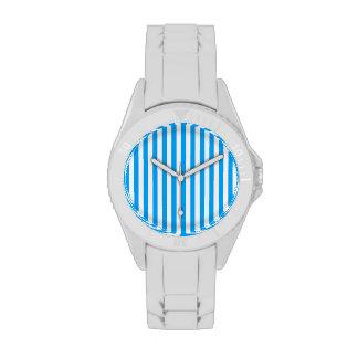 Deep Sky Blue Vertical Stripes; Striped Watch