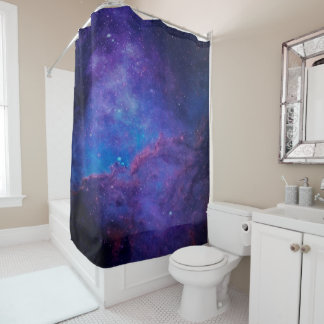 Deep Space Abstract Background In Purple And Blue Shower Curtain