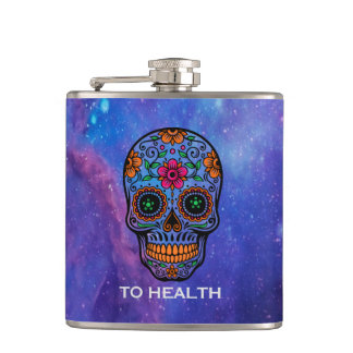 Deep Space Background & Floral Sugar Skull Hip Flask