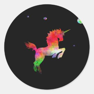 Deep Space Multi-hued Unicorn Classic Round Sticker