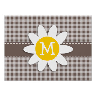 Deep Taupe Gingham; Daisy Posters
