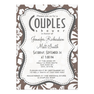 Deep Taupe Tropical Hibiscus Personalized Invitations
