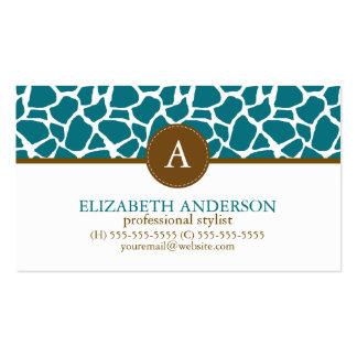 Deep Teal Giraffe Pattern Monogram Pack Of Standard Business Cards