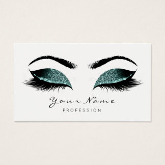 Deep Teal Glitter Makeup Artist Lashes Black White Business Card