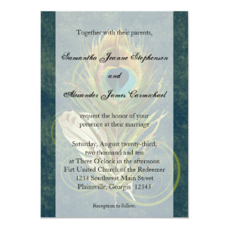 Deep Teal Peacock Feather Wedding Invitations