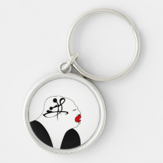 Deep Thinking Silver-Colored Round Key Ring
