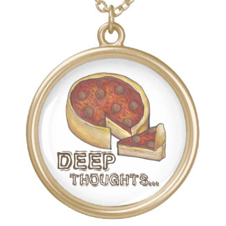 Deep Thoughts Chicago Deep Dish Pizza Necklace
