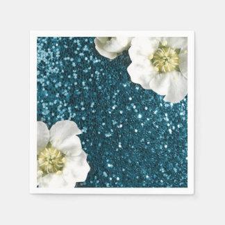 Deep Tiffany Aquatic Beach Jasmine Glitter Sequin Disposable Serviette