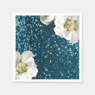 Deep Tiffany Aquatic Beach Jasmine Glitter Sequin Paper Napkins