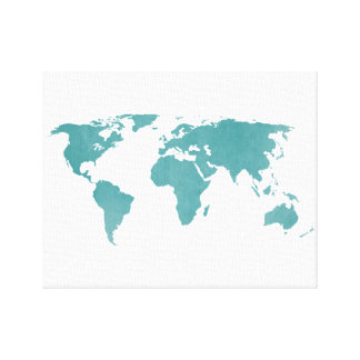 Deep turquoise rustic world map canvas print