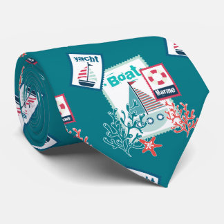 Deep Turquoise Yacht Coral and Boat Tie