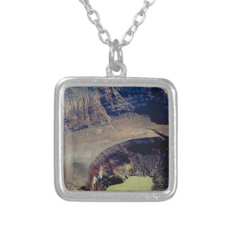 deep volcanic crater silver plated necklace