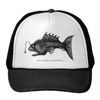 Deep water fish pen ink drawing art hat