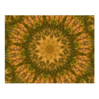 Deep Woods Camo Gold and Green Kaleidoscope Post Cards