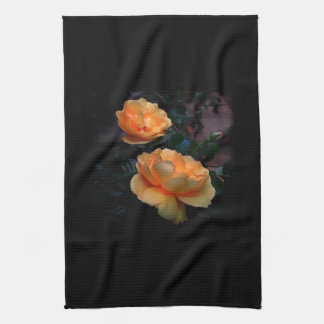 Deep Yellow - Orange Roses, on Black. Tea Towel