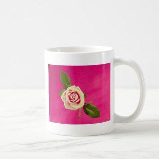 Deep Yellow Rose On Deep Pink Background Basic White Mug