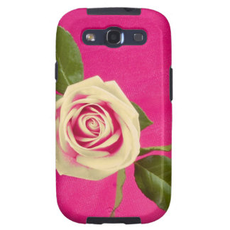 Deep Yellow Rose On Deep Pink Background Galaxy SIII Covers