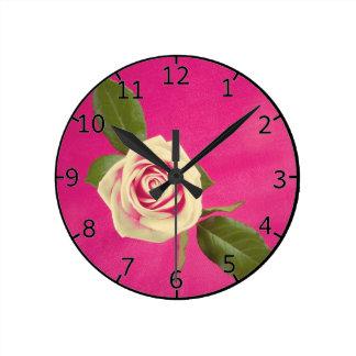 Deep Yellow Rose On Deep Pink Background Wallclocks