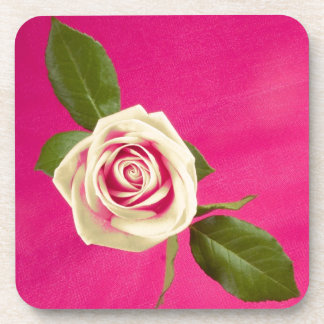 Deep Yellow Rose On Deep Pink Background Drink Coasters