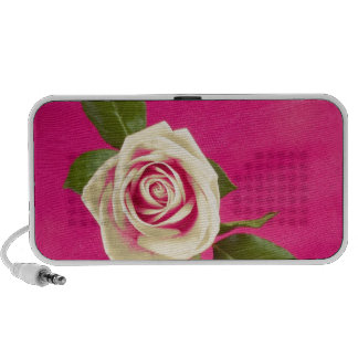 Deep Yellow Rose On Deep Pink Background iPhone Speaker
