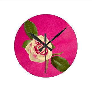 Deep Yellow Rose On Deep Pink Background Wallclock