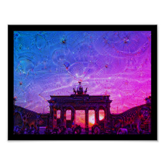 DeepDream Berlin, Brandenburg Gate 02.2.F Poster
