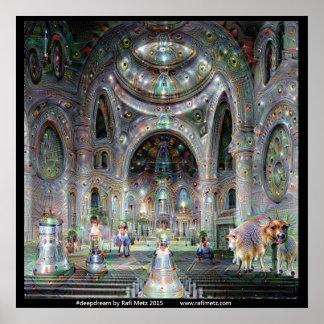Deepdream Cathedral Fantasy Poster