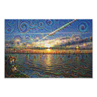 DeepDream Pictures, Sunrise at lake Photographic Print