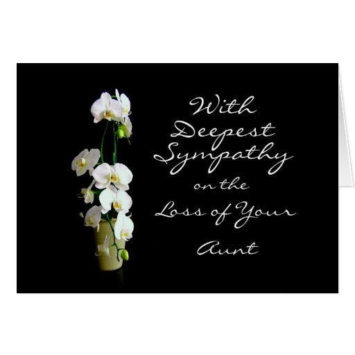 Deepest Sympathy Aunt White Orchids Greeting Cards