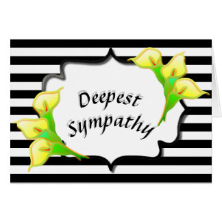 Deepest Sympathy Black Stripes Peace Lilies Card