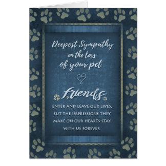 Deepest Sympathy Pet Loss  Blue & Gold Paw Prints Card