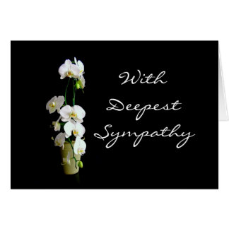 Deepest Sympathy White Orchids Blank Card