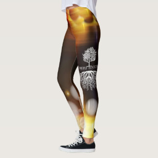 Deeply Rooted Abstract Tan Leggings
