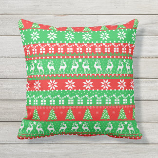 Deeps, cute New Year, ugly, pixel pattern Outdoor Cushion