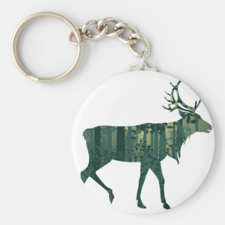 Deer and Abstract Forest Landscape 2 Basic Round Button Key Ring