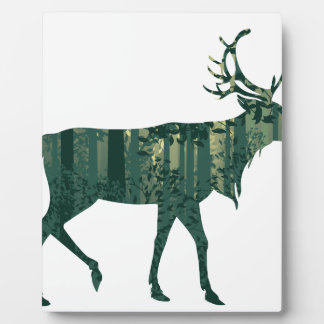 Deer and Abstract Forest Landscape 2 Plaque