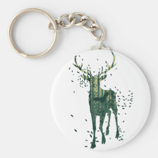 Deer and Abstract Forest Landscape Basic Round Button Key Ring
