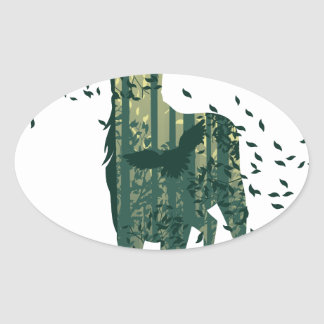 Deer and Abstract Forest Landscape Oval Sticker