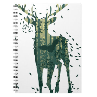Deer and Abstract Forest Landscape Spiral Notebook
