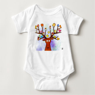 Deer and birds baby bodysuit