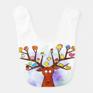 Deer and birds bib