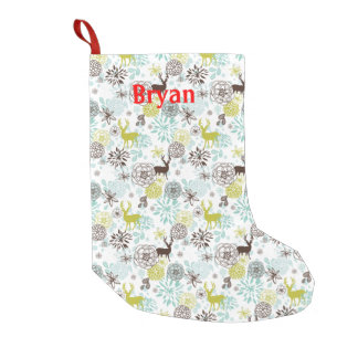 Deer And Flowers Holiday Stocking